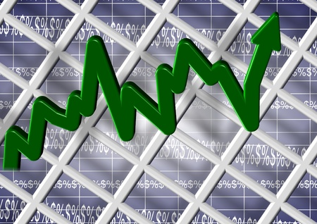 lending: An abstract 3d illustration of a chart with dollar and percentage symbols Stock Photo