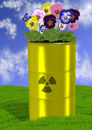 barrel radioactive waste: Radioactive waste barrel and flowers growing on top of it