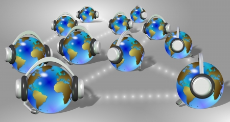 voip: A group of earth globes with headphones communicating with each other