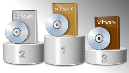 Three different software packages positioned on a winning podium photo