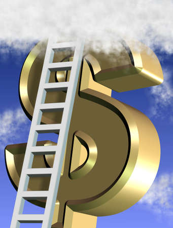 A golden symbol of dollar reaching clouds and white ladders photo