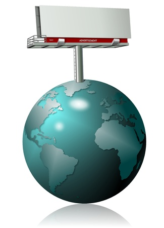 An illustration of earth globe and a billboard on top of it