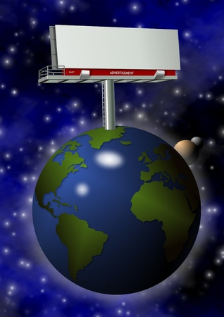 Earth globe and a blank billboard on top of it with space in the background Stock Photo - 15707479