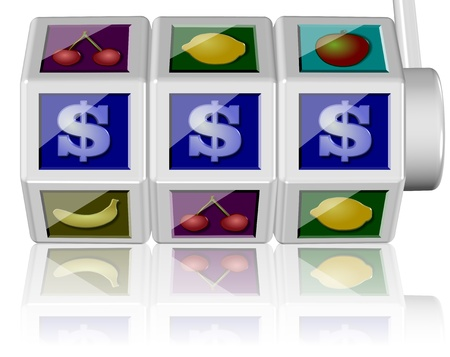 3d illustration of a slot machine on the white background illustration