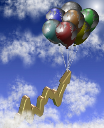 A group of balloons lifting chart arrow up in the sky photo