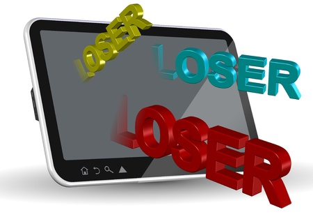 cyber bullying: A computer tablet and words spelling loser coming out of it Stock Photo