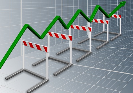 A row of barriers with a green chart arrow going over them