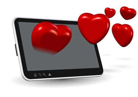 Computer tablet and number of red hearts coming out from it