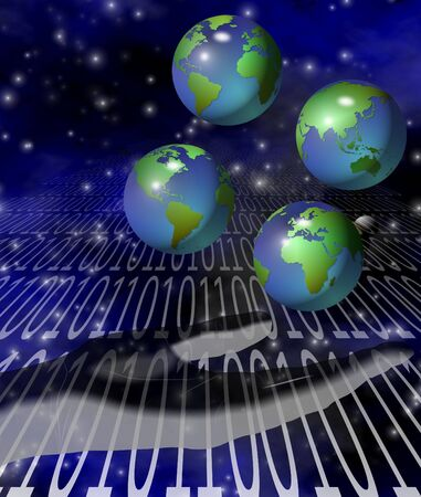 sphere of influence: A human hand juggling four earth globes with binary code in the background Stock Photo
