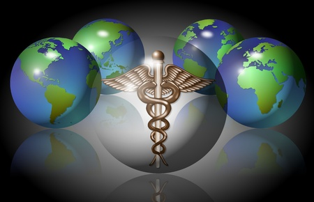 Medical symbol inside of a transparent sphere with four earth globes Stock Photo - 16109383