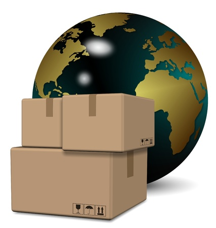 package sending: A group of cardboard boxes with earth globe in the background
