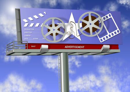 Billboard advertising a movie with a blue sky in the background Stock Photo - 16234056