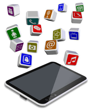 A number of different application icons flying above tablet PC Stock Photo - 16234057