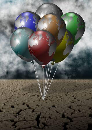Cracked dirt and storm sky and clouds with earth globes shaped as balloons photo