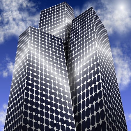 City buildings made of solar panels with blue sky in the background