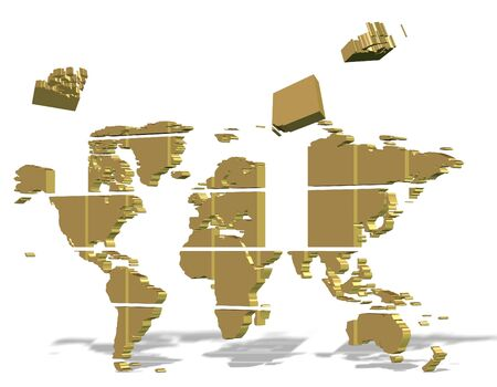Golden 3d map of world made from square puzzle pieces Stock Photo - 16431555