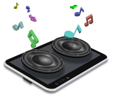 A tablet PC and pair of speakers coming from it Stock Photo - 16431561
