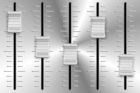 An illustration of white and metal volume slider knobs Imagens