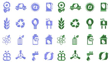 water pump: Blue and green eco icons sets in a chrome effect