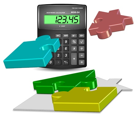 estimating: A shape of a house made from jigsaw puzzle pieces and a calculator Stock Photo