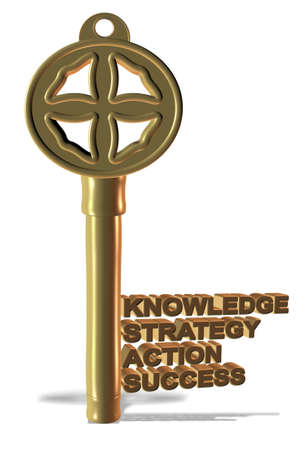A golden key made from basic business words photo