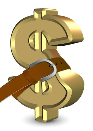 deficit: Golden dollar symbol with a belt around it Stock Photo