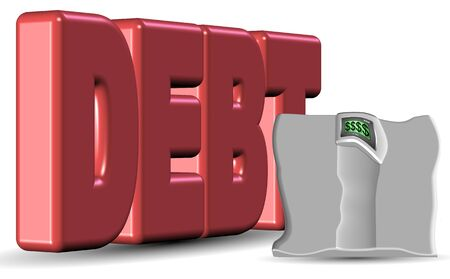 A red word spelling debt and smashed weight scale Stock Photo - 16842227