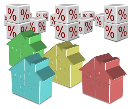 A group of colorful jigsaw puzzle houses and percentage symbols in the background Stock Photo - 16849664