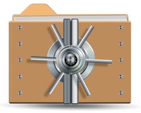 Icons for a computer folder with a vault lock on it photo