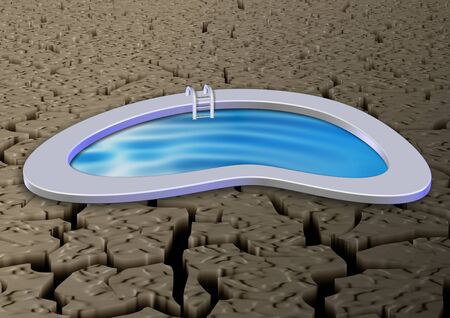 A swimming pool located in the middle of desert photo