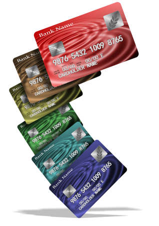 An illustration of a group of colorful credit cards Stock Illustration - 16902967