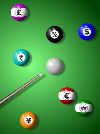 pool cue: Billiard balls with symbols of world currencies randomly positioned