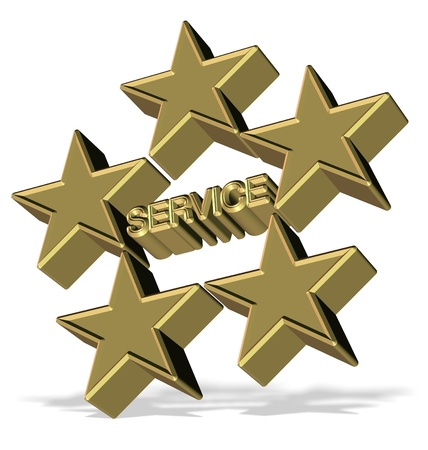 restaurant rating: Golden 3d symbol for five star service Stock Photo