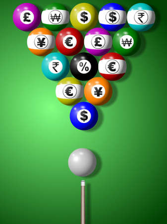 Billiard balls with symbols of major world currencies on them photo