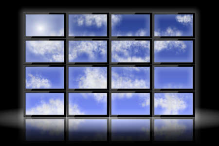 A group of television monitors showing blue sky and clouds photo
