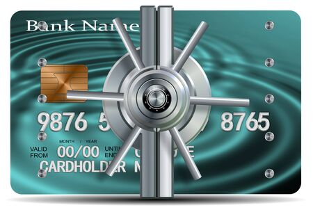 A credit card with a vault locking mechanism on it photo