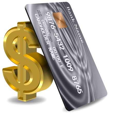 Platinum credit card leaning on a golden dollar symbol Stock Photo - 17082273
