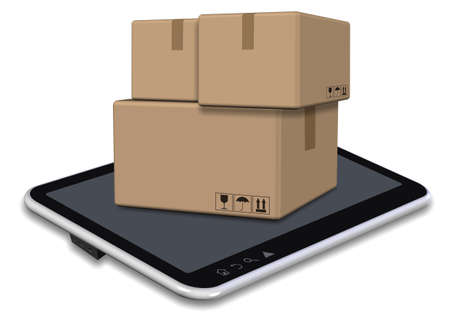A group of cardboard boxes sitting on a tablet PC screen Stock Photo - 17082264