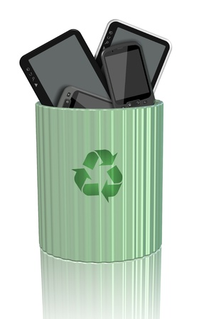 recycle symbol: Computer tablets and mobile phones inside a recycling bin Stock Photo
