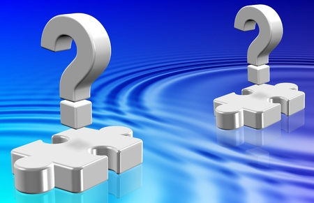 Question marks and jigsaw puzzle pieces hovering above water Stock Photo - 17082268