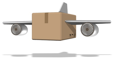 Brown cardboard box with airplane wings attached to it Stock Photo