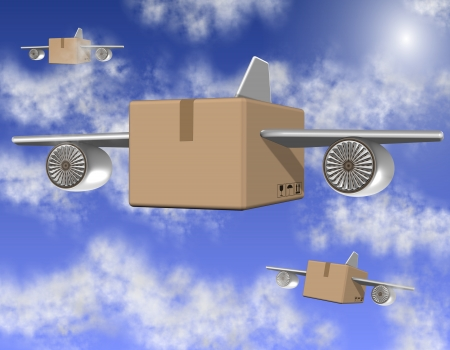 air cargo: Brown cardboard boxes with airplane wings flying on the sky