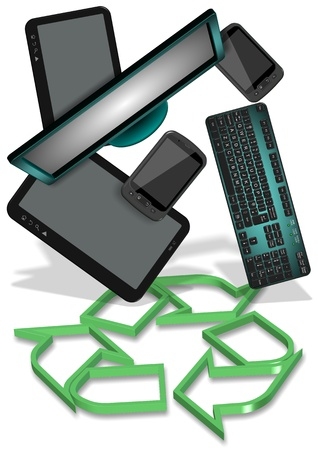 broken screen: Recycling symbol and electronic equipment hovering above it Stock Photo