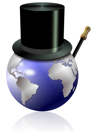 Earth globe with a black top hat and a cane Stock Photo - 17171304