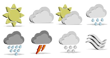 partially: A collection of different 3d weather icons