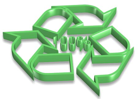 3d green recycling icon with hundred percent symbol in the center photo