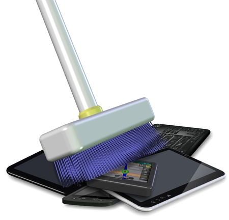 green cleaning: White broom pushing a pile of electronic and digital waste