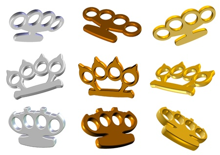 hostility: A set of 3d golden and white knuckle dusters