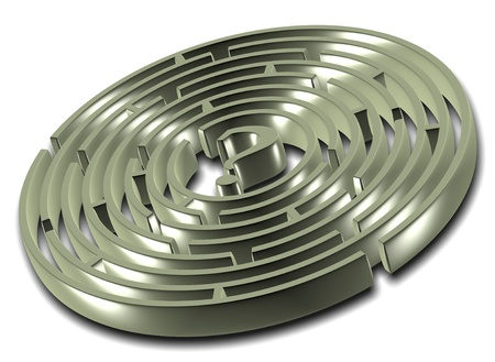 A metallic 3d round labyrinth with a question mark in the center of it photo
