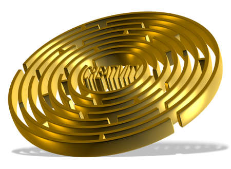 A golden 3d round labyrinth with word creativity in the center of it Stock Photo - 17284909